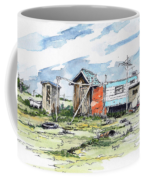 Economy Coffee Mug featuring the painting The New American Dream by Sam Sidders