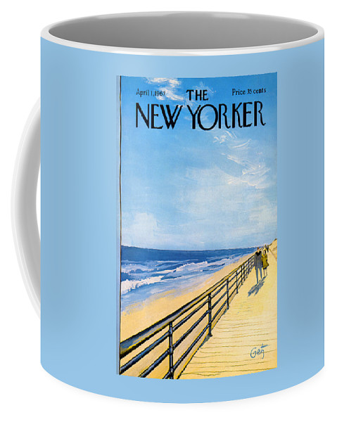 Arthur Coffee Mug featuring the painting The New Yorker Cover - April 1st, 1967 by Arthur Getz