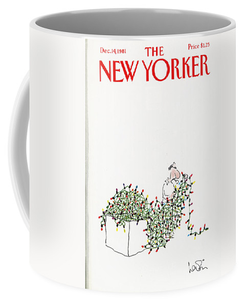 Holiday Coffee Mug featuring the painting The New Yorker Cover - December 14th, 1981 by Arnie Levin