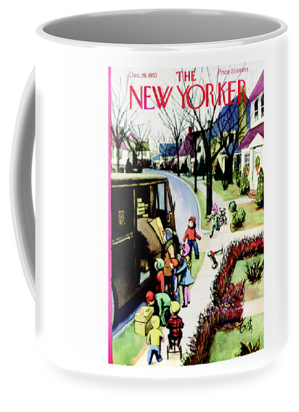 Holiday Coffee Mug featuring the painting New Yorker December 19th, 1953 by Arthur Getz