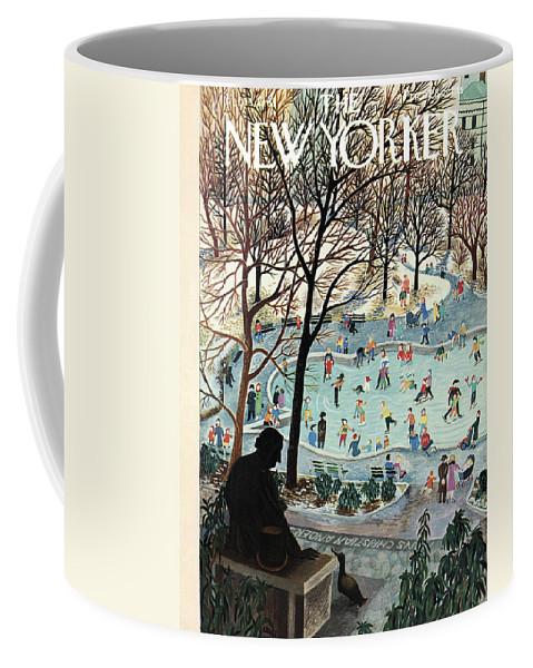 Ilonka Coffee Mug featuring the painting The New Yorker Cover - February 4th, 1961 by Ilonka Karasz