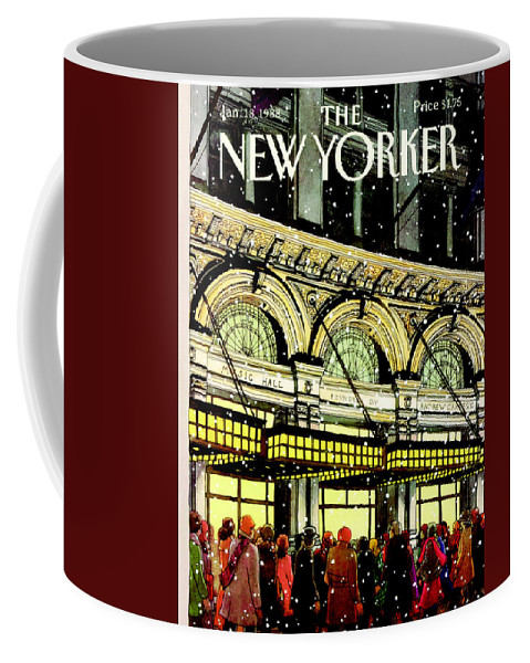 Urban Coffee Mug featuring the painting The New Yorker Cover - January 18th, 1988 by Roxie Munro