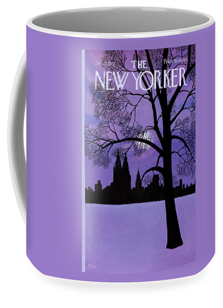 Color Coffee Mug featuring the painting The New Yorker Cover - January 22nd, 1972 by Charles E Martin