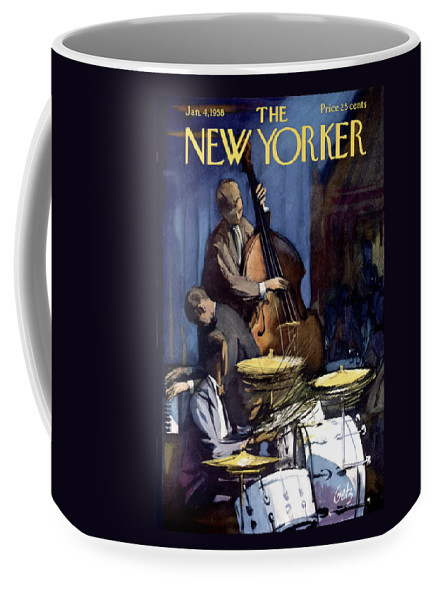 Concert Coffee Mug featuring the painting The New Yorker Cover - January 4th, 1958 by Arthur Getz