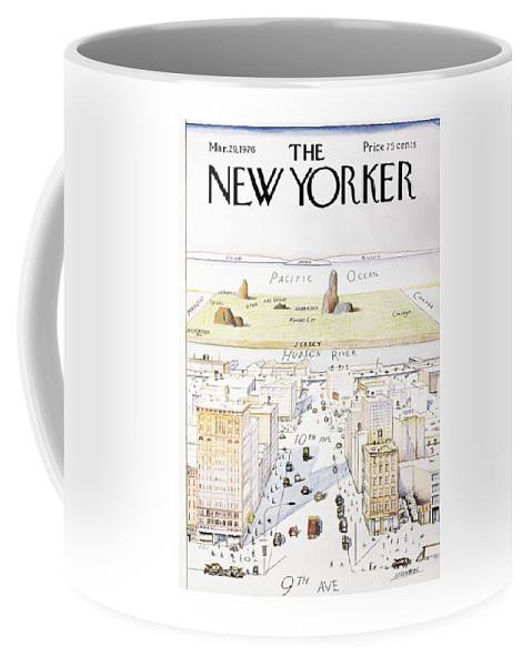Saul Coffee Mug featuring the painting View From 9th Avenue by Saul Steinberg