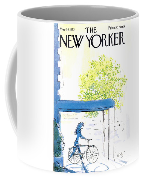 Bicycle Coffee Mug featuring the painting The New Yorker Cover - May 26th, 1973 by Arthur Getz