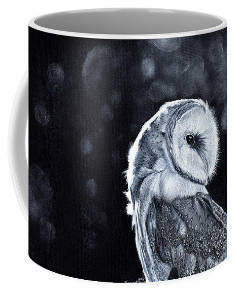 Owl Coffee Mug featuring the mixed media The Night Watcher by Bonnita Moaby