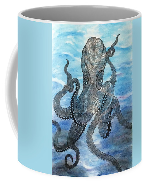 Nature Surrealist Octopus Coffee Mug featuring the mixed media The Octopus 3 by Graham Wallwork