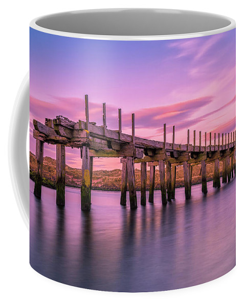 Old Bridge Coffee Mug featuring the photograph The Old Bridge at Sunset by Roy McPeak