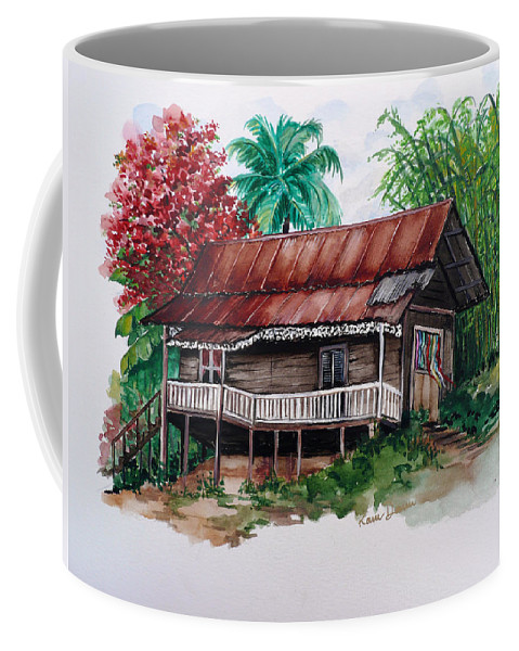 Tropical Painting Poincianna Painting Caribbean Painting Old House Painting Cocoa House Painting Trinidad And Tobago Painting  Tropical Painting Flamboyant Painting Poinciana Red Greeting Card Painting Coffee Mug featuring the painting The Old Cocoa House by Karin Dawn Kelshall- Best