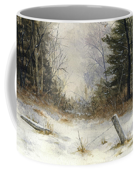 Snow Coffee Mug featuring the painting The Old Fence by Mary Tuomi