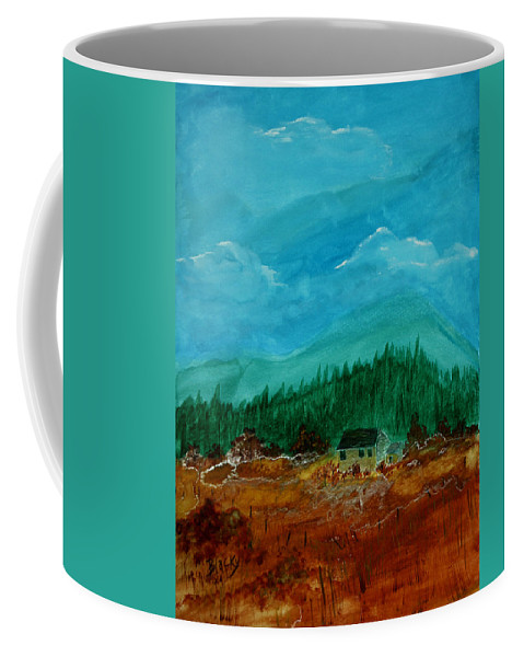 Watercolor Coffee Mug featuring the painting The Old Homestead by Donna Blackhall