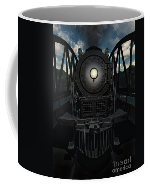Trains Coffee Mug featuring the digital art The Old Iron Bridge by Richard Rizzo