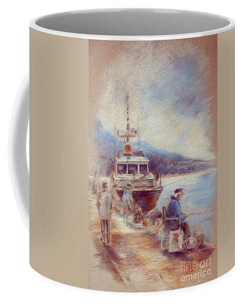 Altea Painting Coffee Mug featuring the painting The Old Man And The Sea 01 by Miki De Goodaboom
