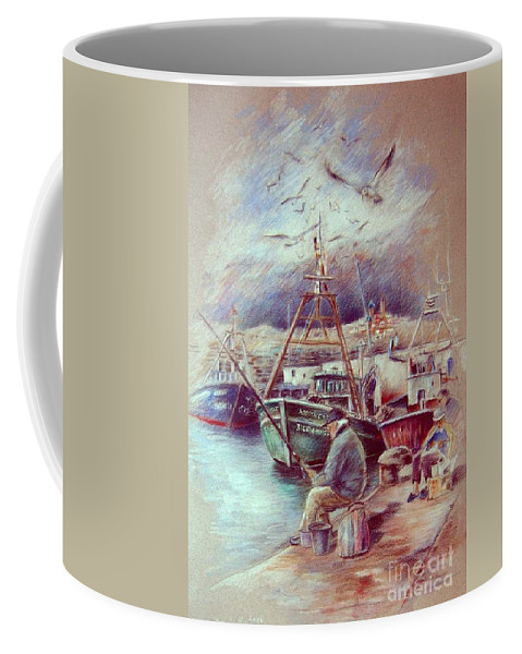 Spain Painting Coffee Mug featuring the painting The Old Man And The Sea 02 by Miki De Goodaboom