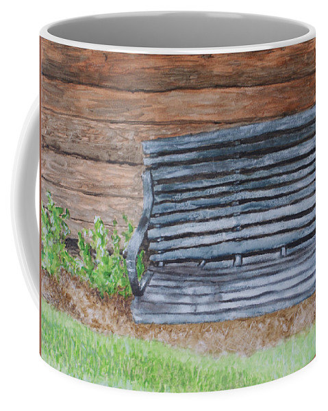 Shed Coffee Mug featuring the painting The Old Porch Swing by Jean Haynes