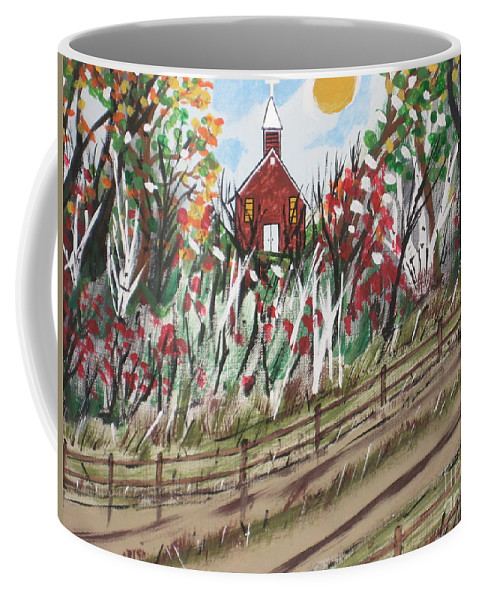 Church Coffee Mug featuring the painting The Old Red Church by Jeffrey Koss