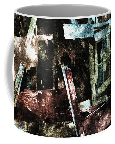 Ghost Coffee Mug featuring the digital art The Ghost Behind The Old Window by Max Steinwald