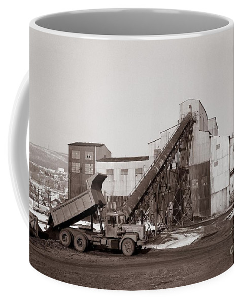 Anthracite Coal Coffee Mug featuring the photograph The Olyphant Pennsylvania Coal Breaker 1971 by Arthur Miller