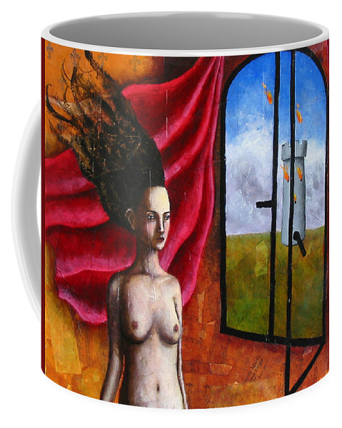 Figure Coffee Mug featuring the painting The Onset Of Calamity by Pauline Lim