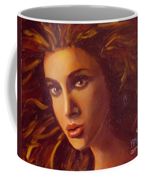 Portrait Coffee Mug featuring the painting The Oracle by Laurie Morgan