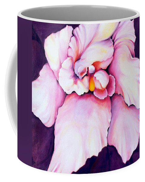 Orcdhid Bloom Artwork Coffee Mug featuring the painting The Orchid by Jordana Sands