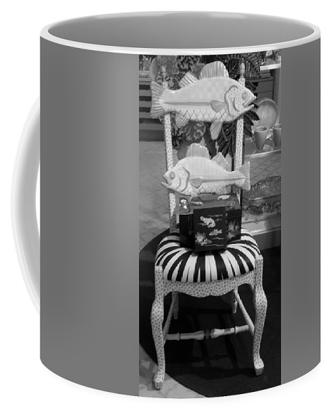 Fish Coffee Mug featuring the photograph The Original Fish Chair B W by Rob Hans
