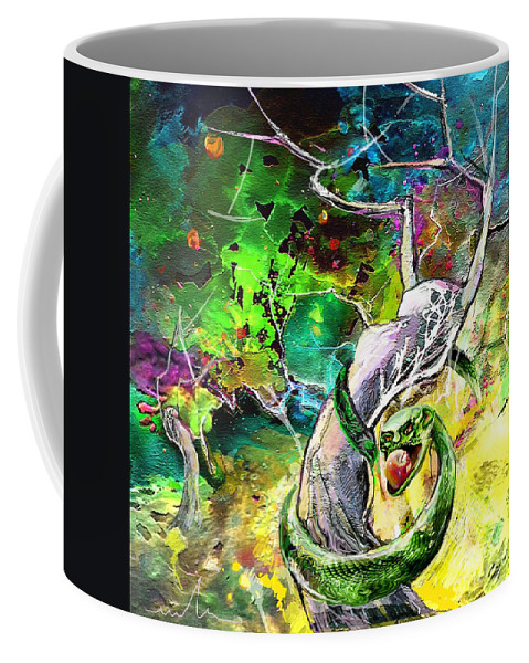 Bible Paintinh Coffee Mug featuring the painting The Original Sin by Miki De Goodaboom