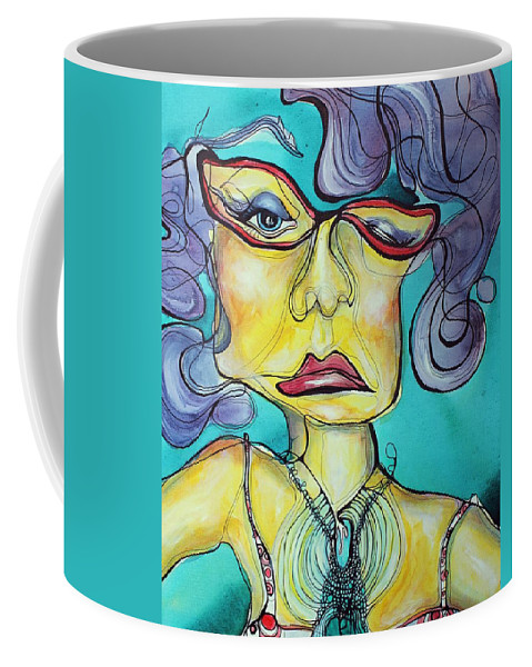 Contour Line Coffee Mug featuring the painting The Other Side Of Her by Darcy Lee Saxton