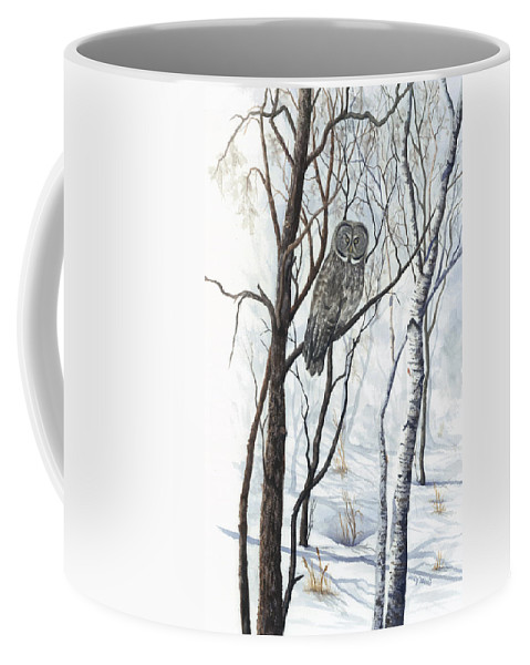 Owl Coffee Mug featuring the painting The Owl by Mary Tuomi