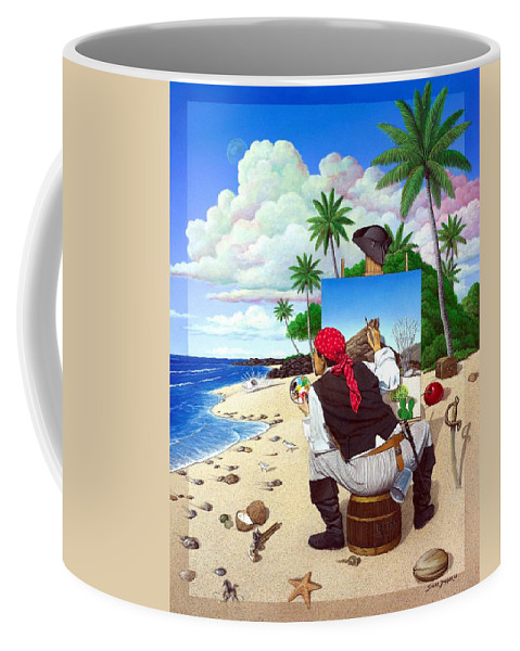 Pirate Coffee Mug featuring the painting The Painting Pirate by Snake Jagger