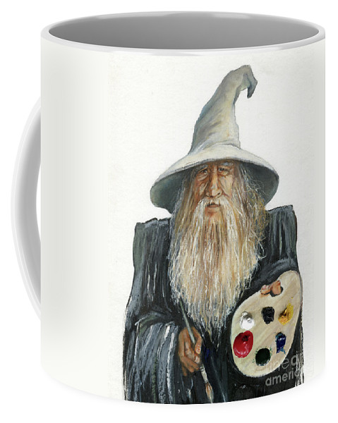Wizard Coffee Mug featuring the painting The Painting Wizard by J W Baker