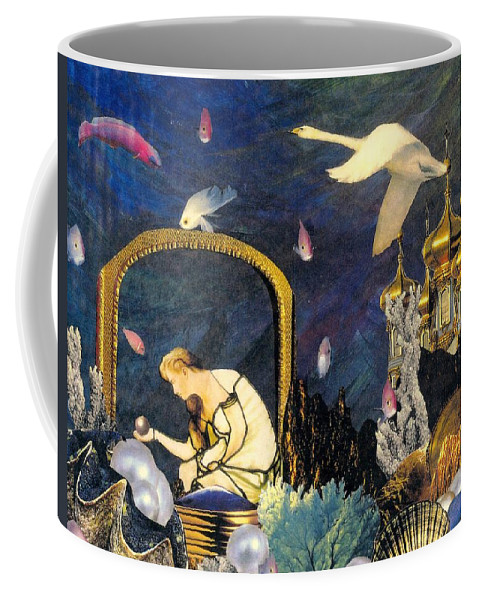 Surealism Coffee Mug featuring the mixed media The Pearl of Great Price by Gail Kirtz
