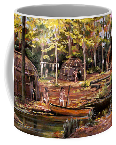 Institute Of American Indian Coffee Mug featuring the painting The Pequots by Nancy Griswold