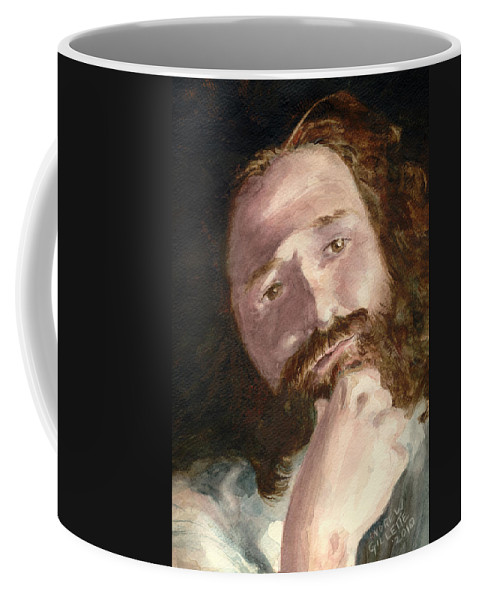 Watercolor Coffee Mug featuring the painting The Philosopher by Andrew Gillette