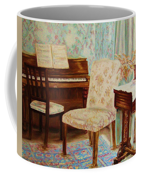 Iimpressionism Coffee Mug featuring the painting The Piano Room by Carole Spandau