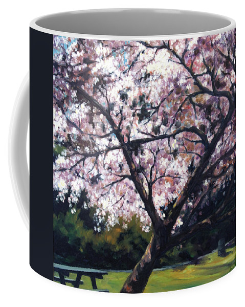 Spring Coffee Mug featuring the painting The Picnic Table by Rick Nederlof