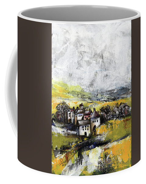 Landscape Coffee Mug featuring the painting The Pink House by Aniko Hencz