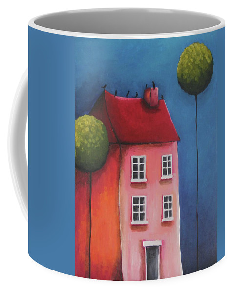 Whimsical Coffee Mug featuring the painting The Pink House by Lucia Stewart