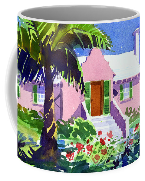 Bermuda Coffee Mug featuring the painting The Pink Palace by Lee Klingenberg