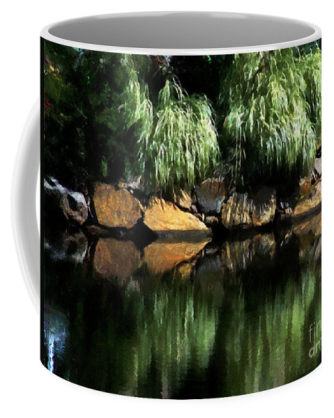 Pond Coffee Mug featuring the painting The Pond On Lamplight Lane by RC DeWinter