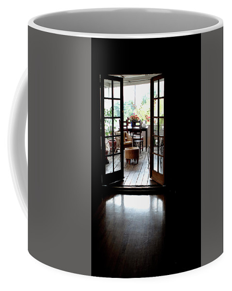 Outside Porch Coffee Mug featuring the photograph The Porch by Lorraine Devon Wilke