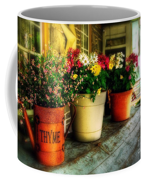 Porch Coffee Mug featuring the photograph The Porch Swing by Lois Bryan