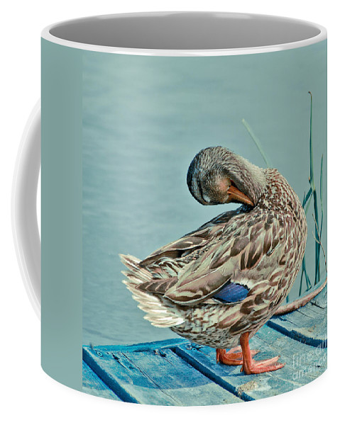 Duck Coffee Mug featuring the photograph The Pose by Aimelle