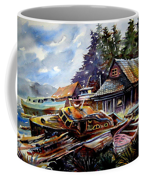 Boats Coffee Mug featuring the painting The Preserve Of Captain Flood by Ron Morrison