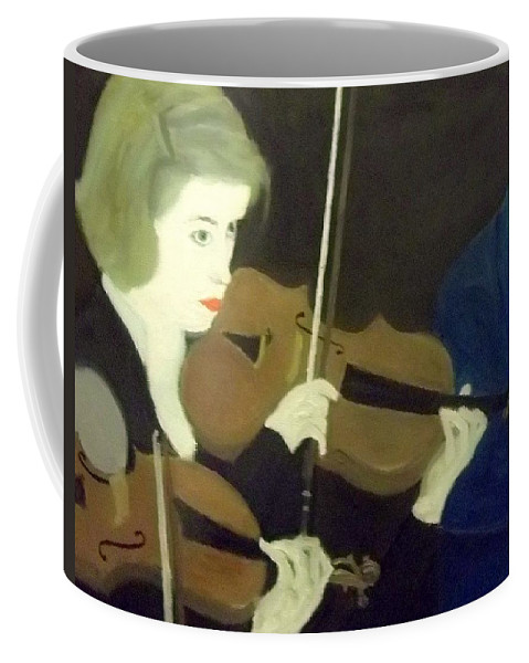 Pretty Coffee Mug featuring the painting The Prettiest Violinist In The Orchestra by Peter Gartner
