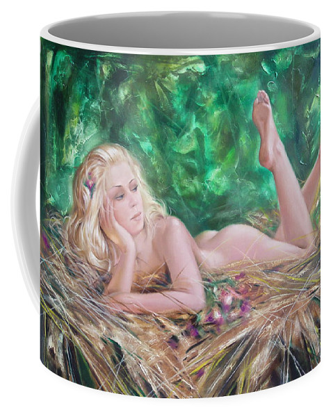 Ignatenko Coffee Mug featuring the painting The Pretty Summer by Sergey Ignatenko