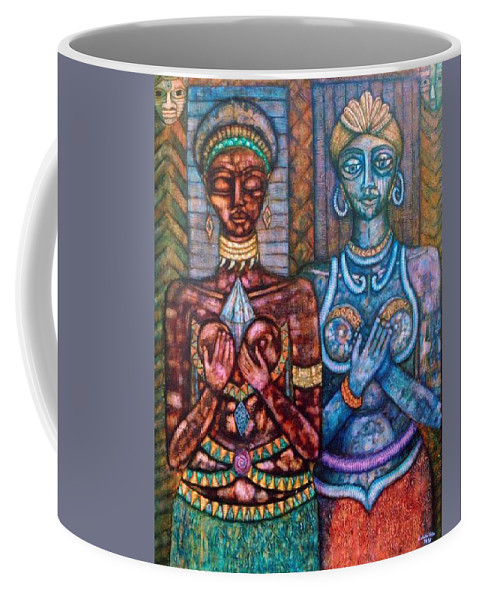Priestesses Coffee Mug featuring the painting The Priestess Of The Occult by Madalena Lobao-Tello
