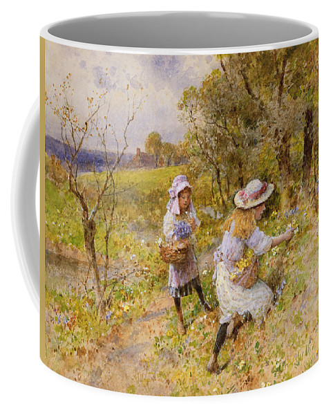 The Coffee Mug featuring the painting The Primrose Gatherers by William Stephen Coleman
