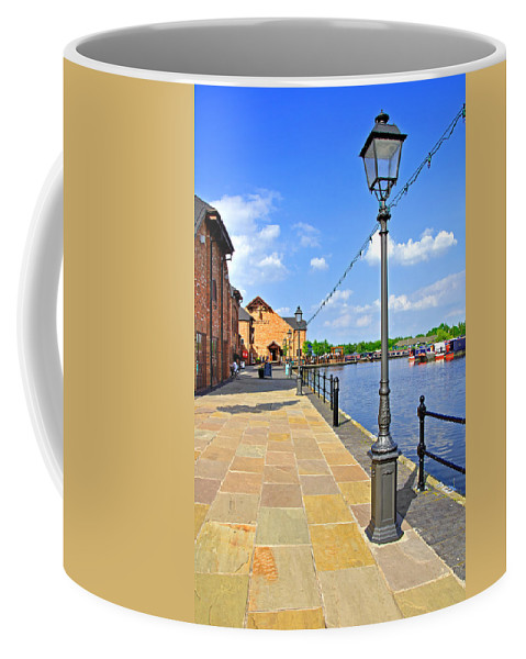 Grey Coffee Mug featuring the photograph The Promenade At Barton Marina by Rod Johnson